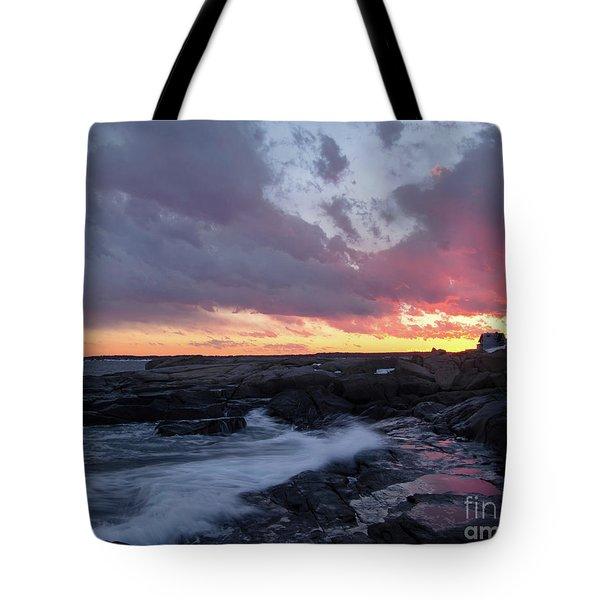 Coastal Sunset Cape Neddick - York Maine  -21056 Tote Bag