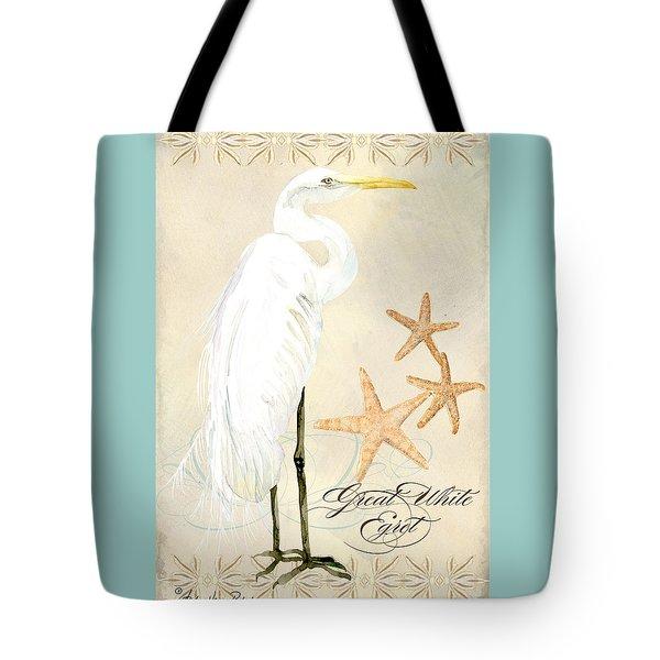 Coastal Waterways - Great White Egret Tote Bag
