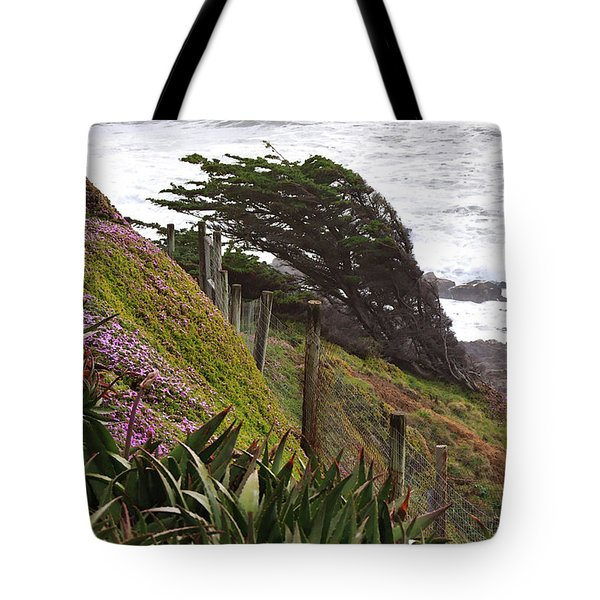Coastal Windblown Trees Tote Bag