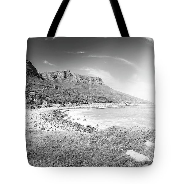 Tote Bag featuring the photograph Coastline In South Africa Black And White by Tim Hester