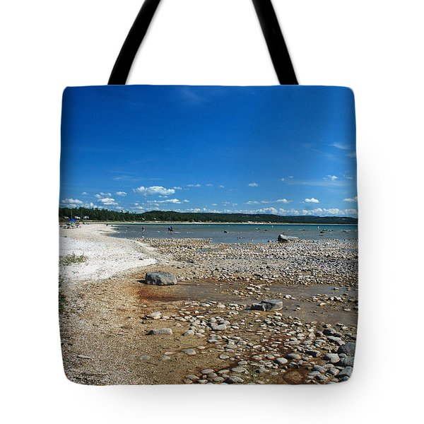 Coastline Of Lake Michigan  Near Petoskey State Park - Little Traverse Bay Tote Bag by Janice Adomeit
