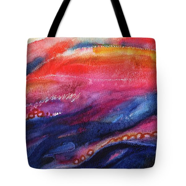 Tote Bag featuring the painting Coatings And Deposits Of Color by Kathy Braud