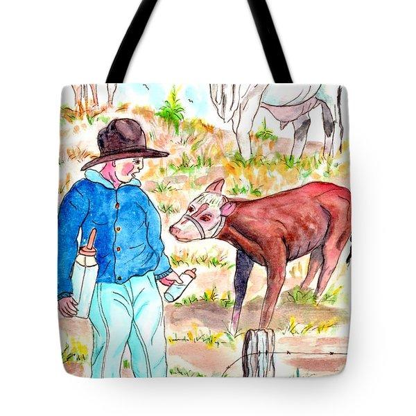 Coaxing The Herd Home Tote Bag