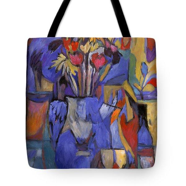 Cobalt Rose Tote Bag