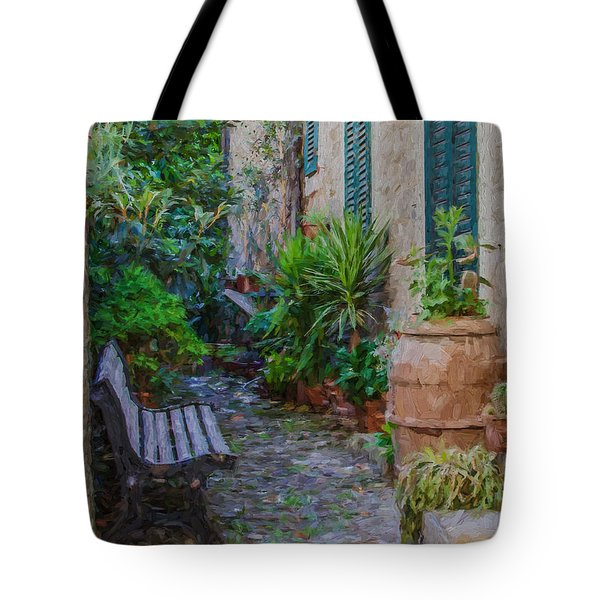 Tote Bag featuring the painting Cobblestone Courtyard Of Tuscany by David Letts
