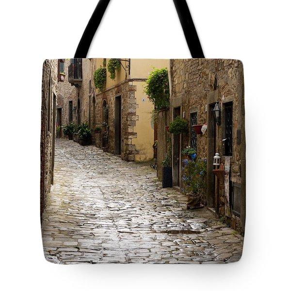 Cobblestone Street Tote Bag by Rae Tucker