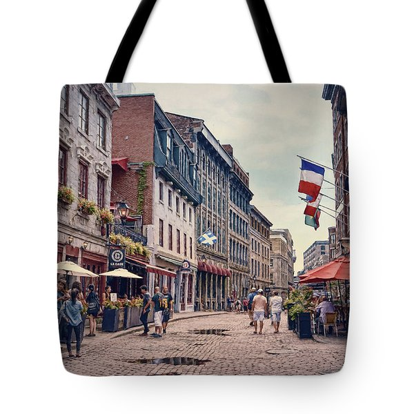 Cobblestone Streets In Old Montreal  Tote Bag