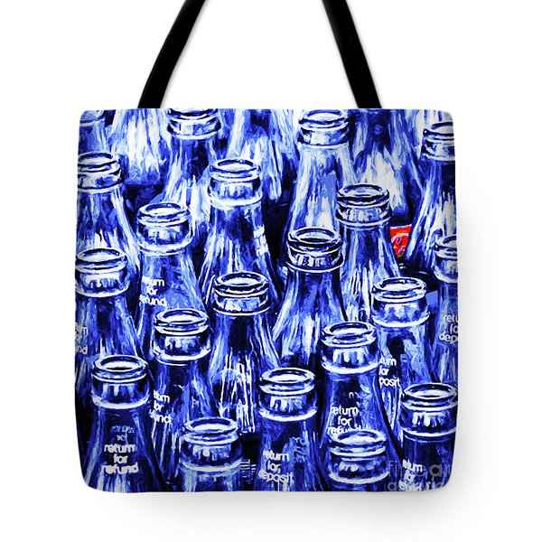 Coca-cola Coke Bottles - Return For Refund - Square - Painterly - Blue Tote Bag