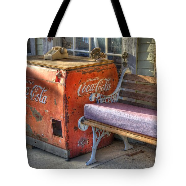 Coca Cola Cooler Back In Time Tote Bag by Bob Christopher