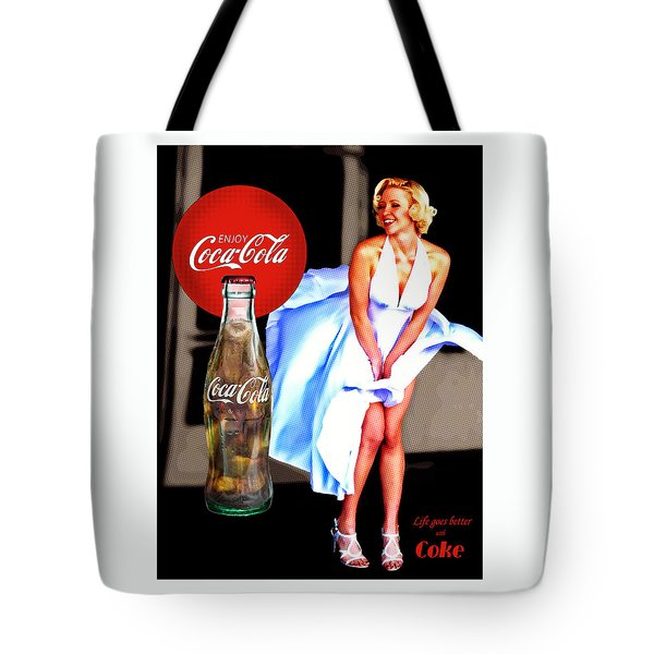Tote Bag featuring the photograph Coca Cola Girl Marilyn by James Sage