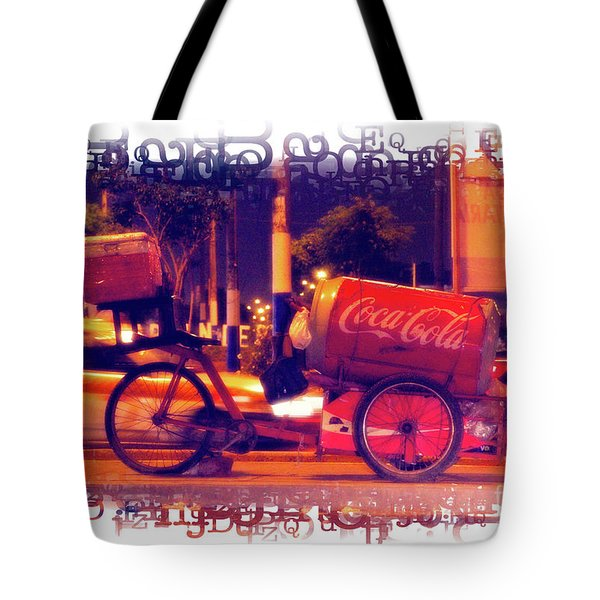 Tote Bag featuring the photograph Coca Cola Tricycle Bin - Lima by Mary Machare