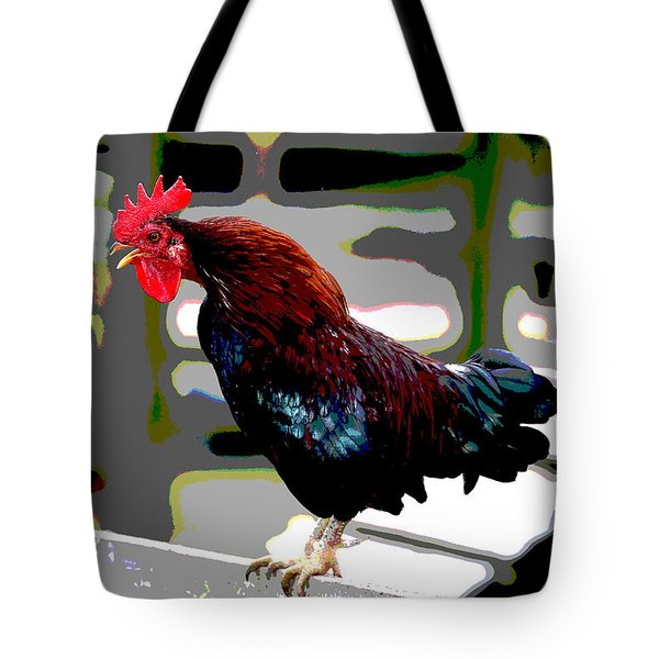 Tote Bag featuring the mixed media Cock Crowing by Charles Shoup