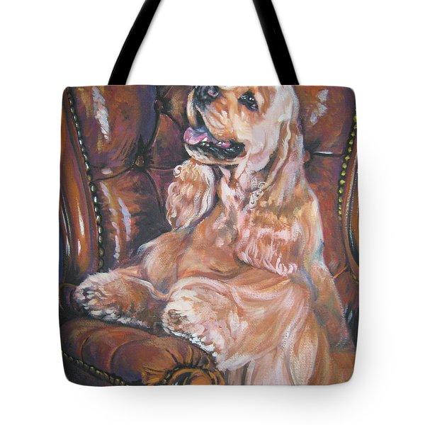 Cocker Spaniel On Chair Tote Bag by Lee Ann Shepard
