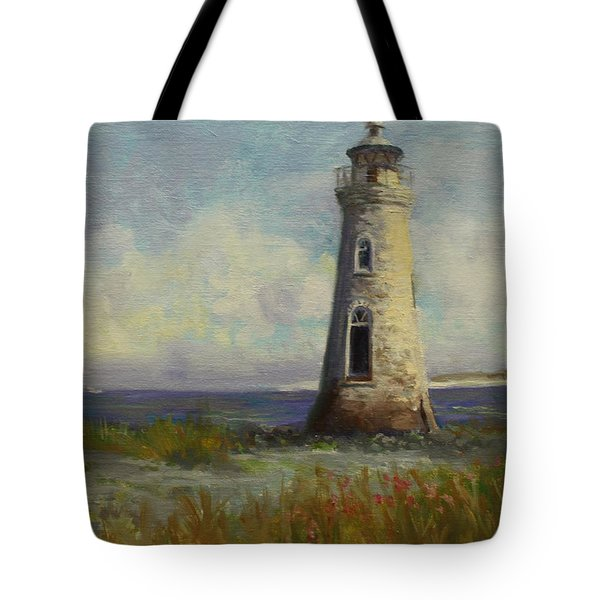 Cockspur Island Lighthouse Tote Bag by Nora Sallows