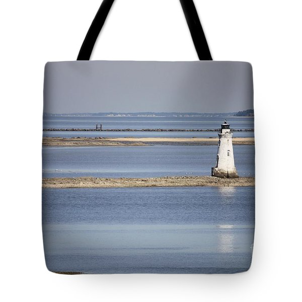 Cockspur Island Lighthouse With Jetty Tote Bag by Carol Groenen