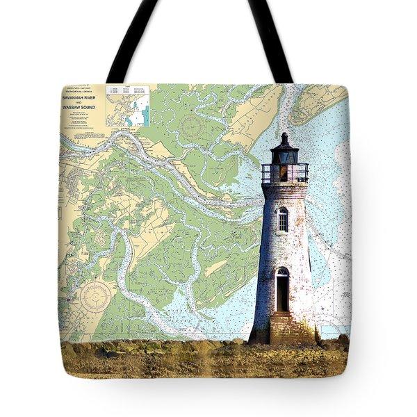 Cockspur On Navigation Chart Tote Bag