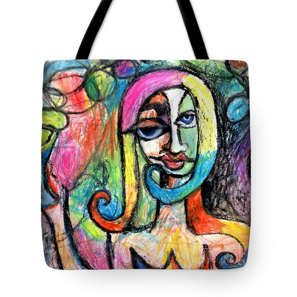Tote Bag featuring the mixed media Hippy Chic Funky Color Pop Cocktail by Genevieve Esson
