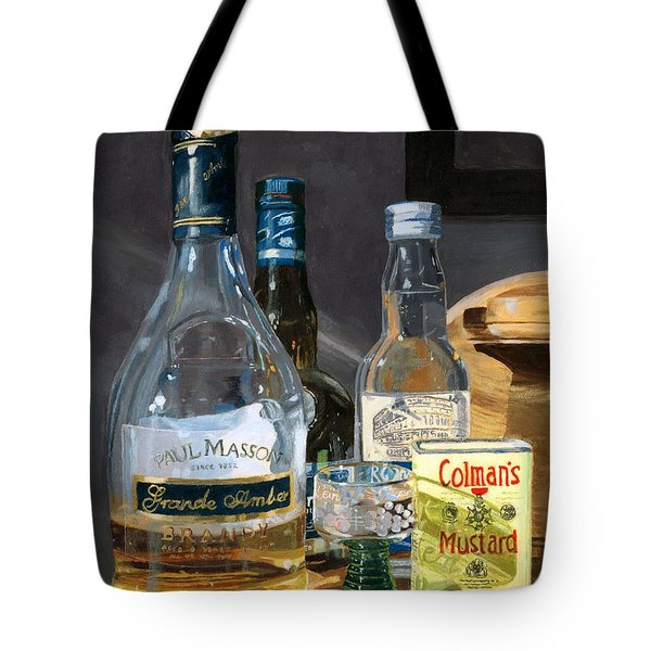 Tote Bag featuring the painting Cocktails And Mustard by Lynne Reichhart