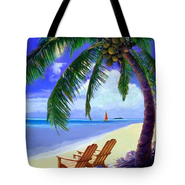Tote Bag featuring the painting Coconut Palm by David  Van Hulst