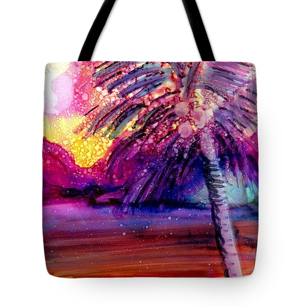 Tote Bag featuring the painting Coconut Palm Tree 2 by Marionette Taboniar