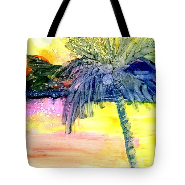 Tote Bag featuring the painting Coconut Palm Tree 3 by Marionette Taboniar
