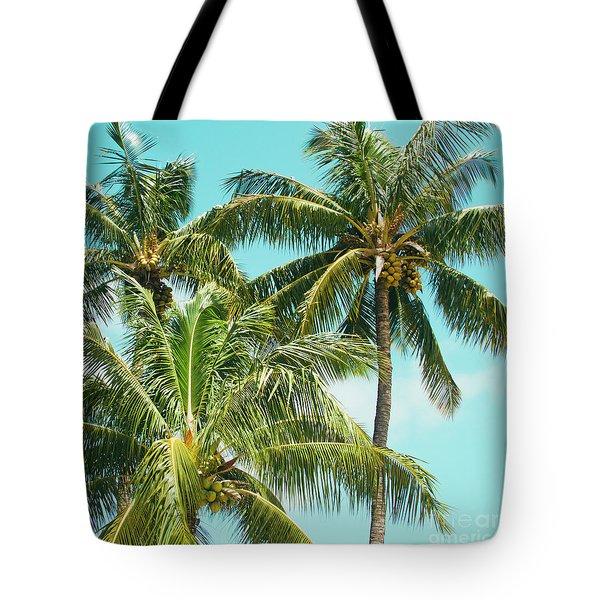 Coconut Palm Trees Sugar Beach Kihei Maui Hawaii Tote Bag by Sharon Mau
