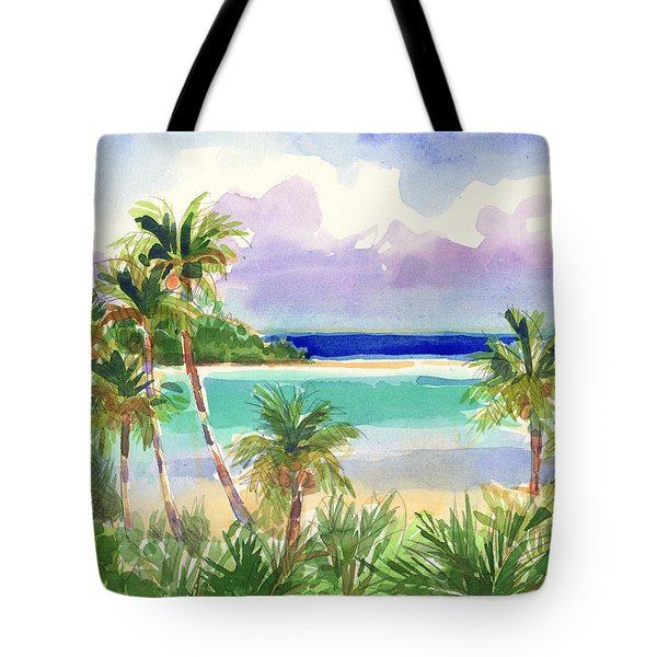 Tote Bag featuring the painting Coconut Palms And Lagoon, Aitutaki by Judith Kunzle