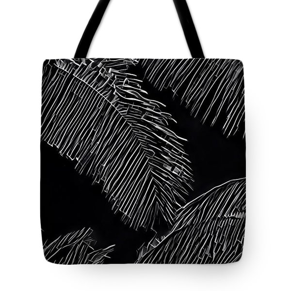 Coconut Palms In Black And White Tote Bag