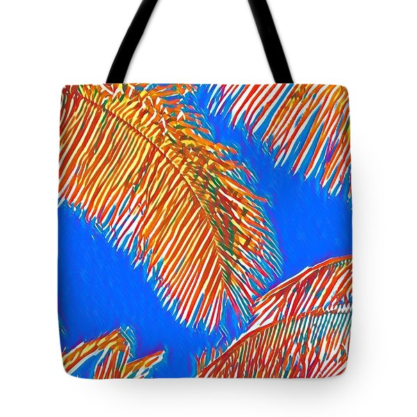 Coconut Palms In Red And Blue Tote Bag