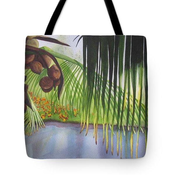 Coconut Tree Tote Bag by Teresa Beyer
