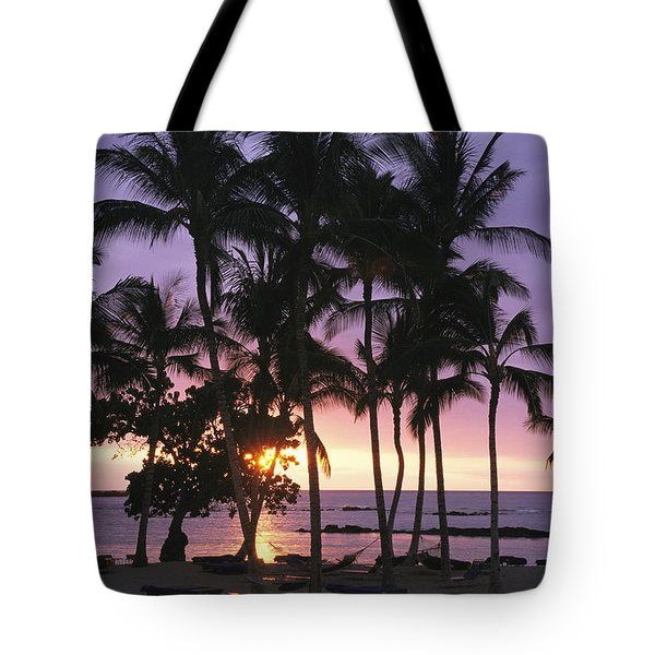 Coconut Trees Silhouetted On Mauna Lani Tote Bag