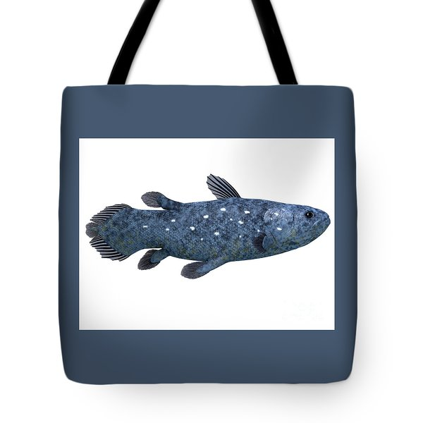Coelacanth Fish On White Tote Bag by Corey Ford