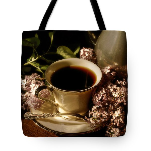 Coffee And Lilacs In The Morning Tote Bag by Lois Bryan