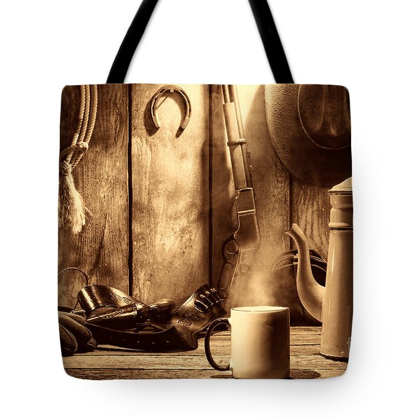 Coffee At The Cabin Tote Bag