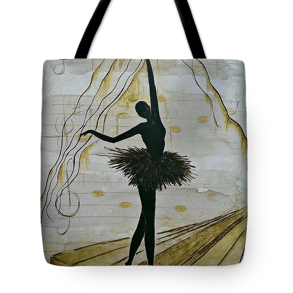 Tote Bag featuring the painting Coffee Ballerina by AmaS Art