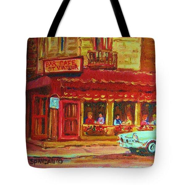 Coffee Bar On The Corner Tote Bag by Carole Spandau