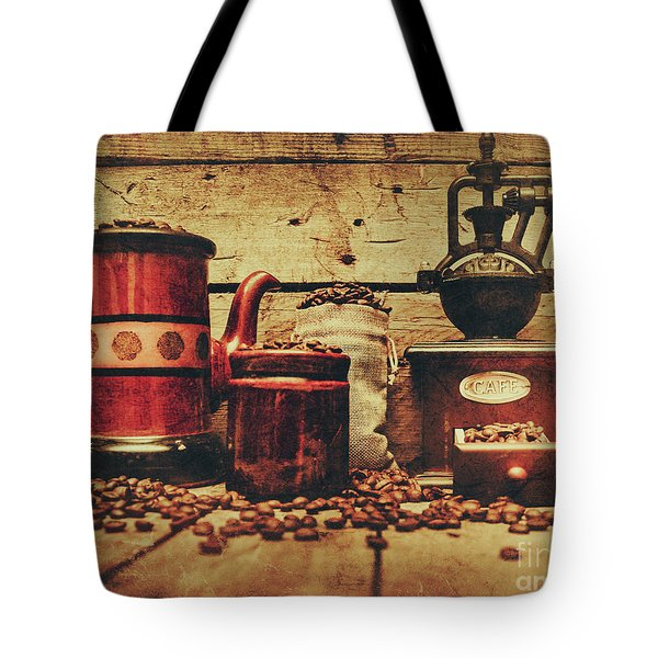 Coffee Bean Grinder Beside Old Pot Tote Bag