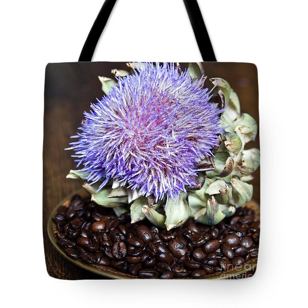 Tote Bag featuring the photograph Coffee Beans And Blue Artichoke by Silva Wischeropp