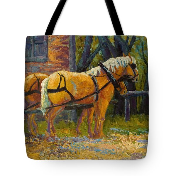 Coffee Break - Draft Horse Team Tote Bag