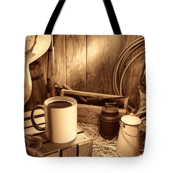 Coffee Break At The Chuck Wagon Tote Bag