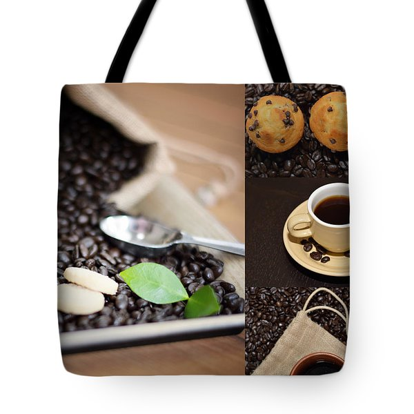 Coffee Collage Photo Tote Bag by Serena King