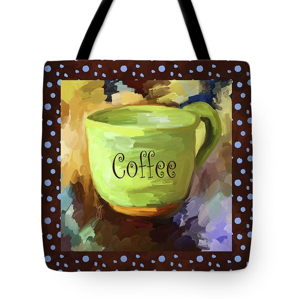 Coffee Cup With Blue Dots Tote Bag by Jai Johnson