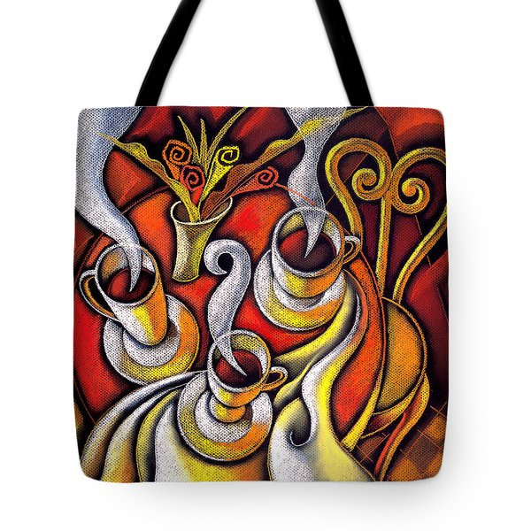 Tote Bag featuring the painting Coffee Cups by Leon Zernitsky