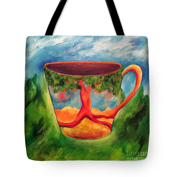 Coffee In The Park Tote Bag by Elizabeth Fontaine-Barr