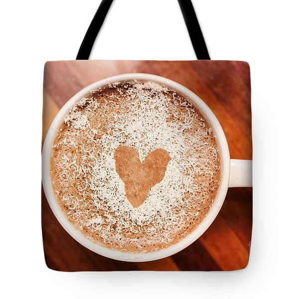Coffee Love. White Coffee Cup On Wooden Background Tote Bag