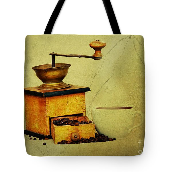 Coffee Mill And Cup Of Hot Black Coffee Tote Bag by Michal Boubin