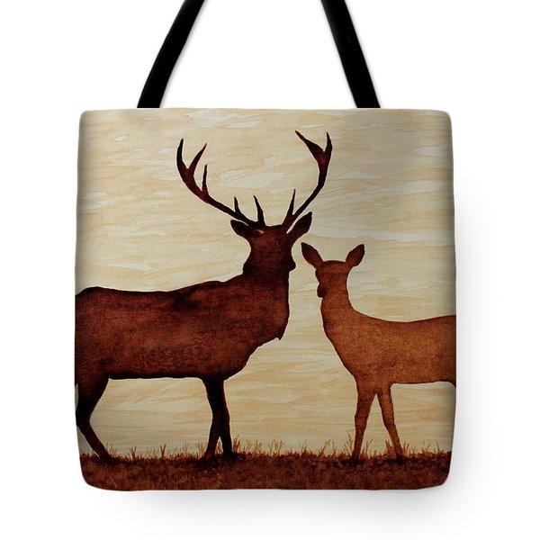 Coffee Painting Deer Love Tote Bag