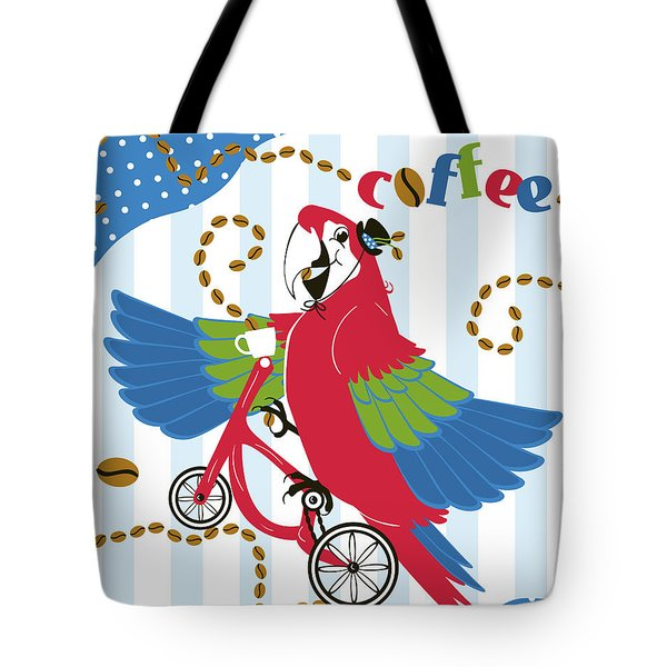 Coffee Parrot Tote Bag