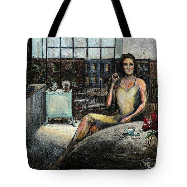 Coffee With Kate Tote Bag by Antonio Ortiz
