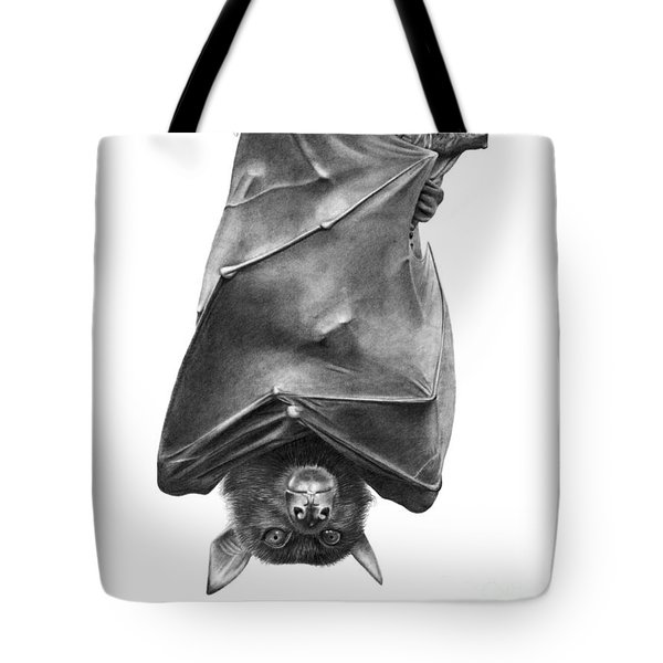Tote Bag featuring the drawing Coffie The Fruit Bat by Abbey Noelle